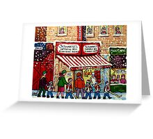 MONTREAL WINTER CITY STREET PAINTING SNOWING AT SCHWARTZ'S DELI Greeting Card