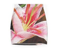 Macro Pink and White Lilly Flower in the Garden Mini Skirt