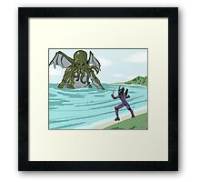 Elder God verses EVA Framed Print