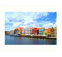 Pastel Colors of the Caribbean Coastline in Curacao Art Print