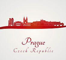 Prague skyline in red by Pablo Romero
