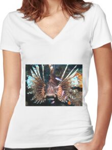 Caribbean Lion Fish guarding the Coral Reef Women's Fitted V-Neck T-Shirt