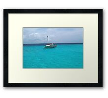 Sailing Serenity in the Azure Waters of the Caribbean Framed Print
