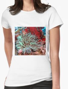 Giant Green Sea Anemone feeding near Red Coral Reef Wall Womens Fitted T-Shirt