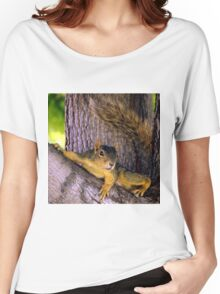 Animal - Squirrel watching from the Tree Women's Relaxed Fit T-Shirt