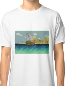 Boat floating infront of Island. Classic T-Shirt