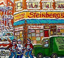 MONTREAL MEMORIES STEINBERG'S GROCERY STORE VINTAGE MONTREAL HOCKEY STREET SCENE by Carole  Spandau