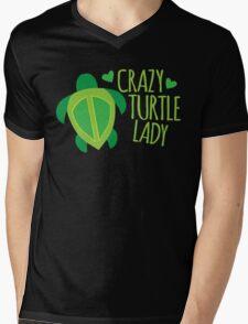 Crazy Turtle Lady Mens V-Neck T-Shirt