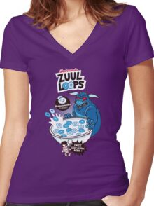 Zuul Loops Women's Fitted V-Neck T-Shirt