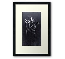 Mobile Lovers by Banksy, Bristol 2014. Framed Print