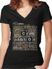 Cycling T Shirt - Crank Addiction Women's Fitted V-Neck T-Shirt