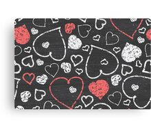 Chalk hearts pattern Canvas Print
