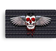 Skull with chromed wings on leather Canvas Print