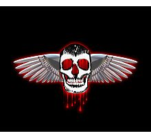 Bloody skull with chromed wings illustration Photographic Print
