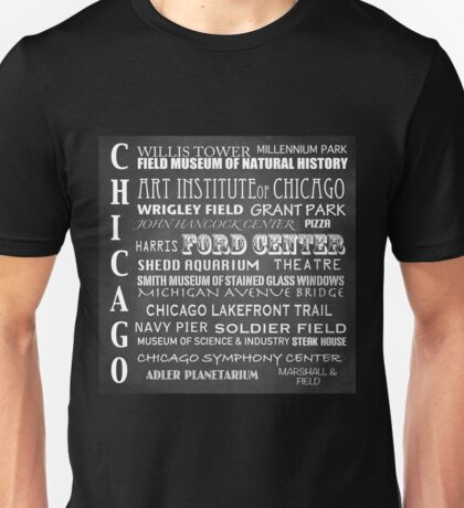 Chicago Famous Landmarks Unisex T-Shirt