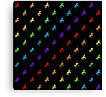Rainbow unicorn pattern on black background Canvas Print