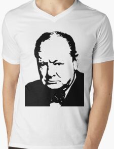 Silhouette portrait Winston Churchill Mens V-Neck T-Shirt