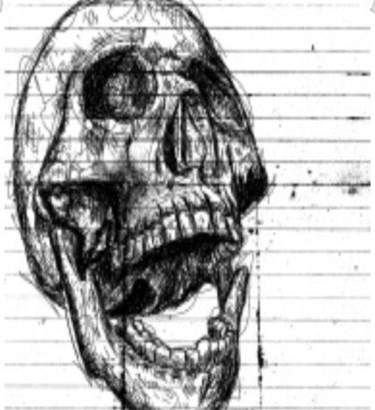 Skull on notebooke paper Sticker