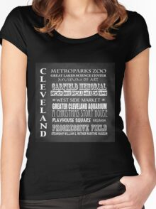 Cleveland Ohio Famous Landmarks Women's Fitted Scoop T-Shirt