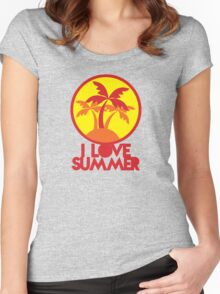 I LOVE SUMMER with island and circle palm trees Women's Fitted Scoop T-Shirt
