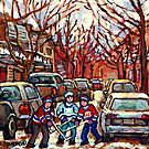 STREET HOCKEY ART MONTREAL WINTER CITY SCENE PAINTING POINTE ST. CHARLES by Carole  Spandau