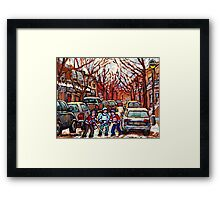 STREET HOCKEY ART MONTREAL WINTER CITY SCENE PAINTING POINTE ST. CHARLES Framed Print