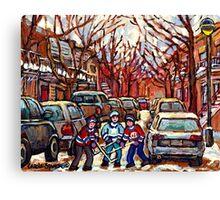STREET HOCKEY ART MONTREAL WINTER CITY SCENE PAINTING POINTE ST. CHARLES Canvas Print