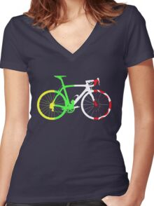 Bike Tour de France Jerseys (Vertical) (Big)  Women's Fitted V-Neck T-Shirt