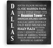 Dallas Famous Landmarks Canvas Print