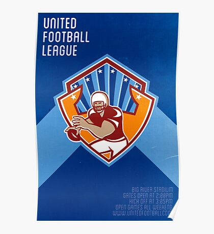 American Football Quarterback Star Shield Poster