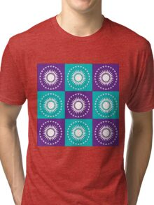 Retro Flower Patch Print Tri-blend T-Shirt