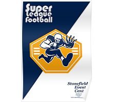 American Super League Football Poster Retro Poster