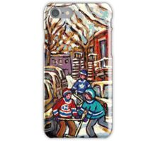AFTER THE SNOWFALL MONTREAL WINTER SCENE BOYS PLAYING HOCKEY iPhone Case/Skin