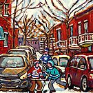 AFTER THE SNOWFALL MONTREAL WINTER SCENE BOYS PLAYING HOCKEY by Carole  Spandau