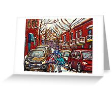 AFTER THE SNOWFALL MONTREAL WINTER SCENE BOYS PLAYING HOCKEY Greeting Card