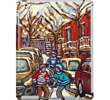 AFTER THE SNOWFALL MONTREAL WINTER SCENE BOYS PLAYING HOCKEY iPad Case/Skin