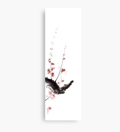 Sakura cherry blossom orange pink red flowers tree watercolor original ink painting Canvas Print