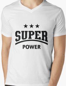 Super Power (Black) Mens V-Neck T-Shirt