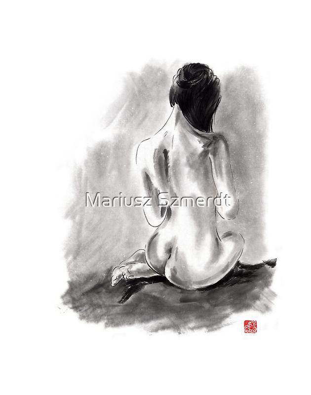 Woman geisha erotic act beautiful girl 女性 Japanese ink painting by Mariusz Szmerdt