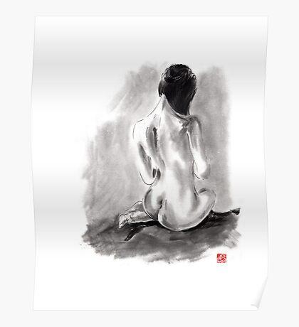 Woman geisha erotic act beautiful girl 女性 Japanese ink painting Poster