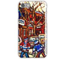 VERDUN MONTREAL WINTER CITY SCENE HOCKEY ART PAINTING iPhone Case/Skin