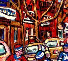 VERDUN MONTREAL WINTER CITY SCENE HOCKEY ART PAINTING Sticker