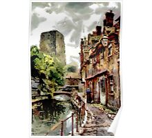 A digital painting of Fisher Row and the remains of Oxford Castle 1910 Poster