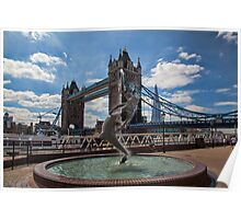 Mermaid, London Bridge and Shard Poster