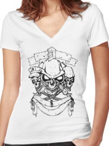 Stylish Skull Women's Fitted V-Neck T-Shirt