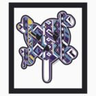 Skull bones heart pop purple blue yellow with border by aygeartist