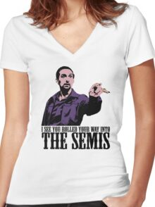 Jesus The Big Lebowski T shirt I see You Rolled Your Way Tshirt Women's Fitted V-Neck T-Shirt