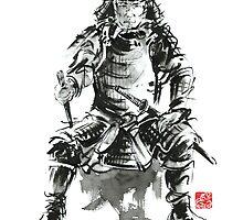 Samurai sword bushido katana armor silver steel plate metal kabuto costume helmet martial arts sumi-e original ink painting artwork by Mariusz Szmerdt