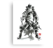 Samurai sword bushido katana armor silver steel plate metal kabuto costume helmet martial arts sumi-e original ink painting artwork Canvas Print
