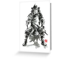 Samurai sword bushido katana armor silver steel plate metal kabuto costume helmet martial arts sumi-e original ink painting artwork Greeting Card